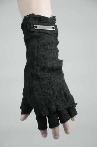 KNITTED LINEN GLOVES 91 BLACK