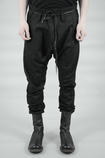 SLIM COATED COTTON RAW TROUSERS 75 BLACK