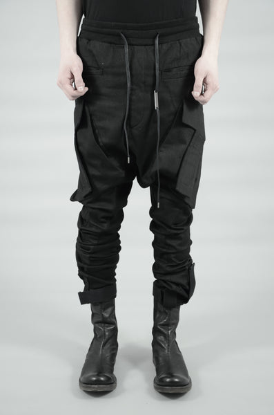COATED T-POCKET CARGO TROUSERS 68 BLACK