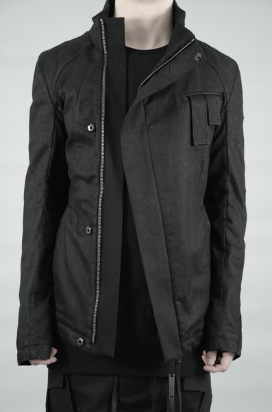 SLIM COATED BIKER JACKET 04 BLACK