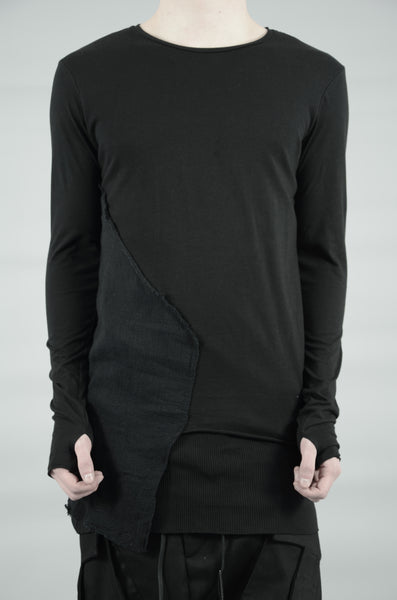 DOUBLE LAYERED LONG SLEEVED T-SHIRT 30 BLACK