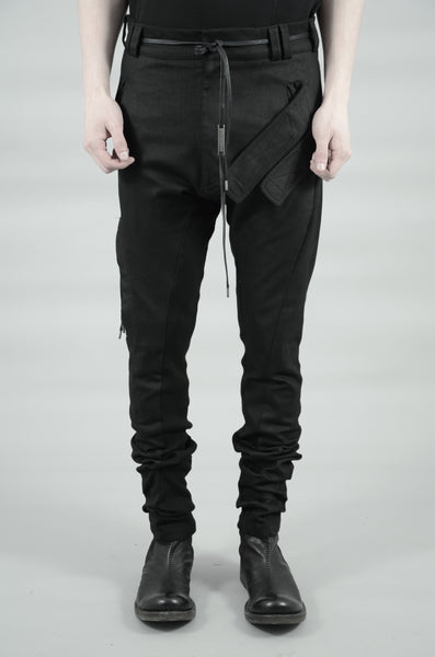 SLIM COATED VELCRO POCKET TROUSERS 67 BLACK