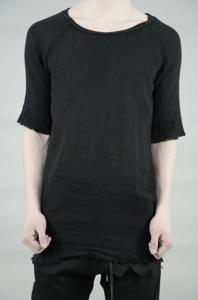 KNITTED LINEN T-SHIRT 33 BLACK