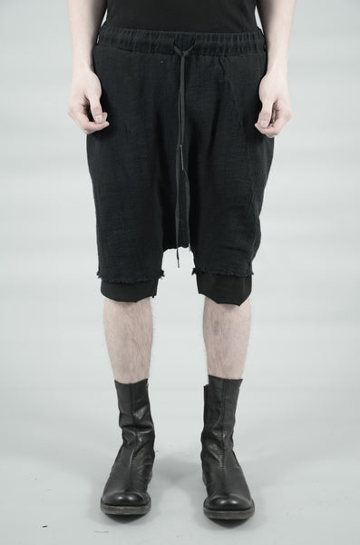 DOUBLE LAYERED KNITTED LINEN SHORTS 85 BLACK