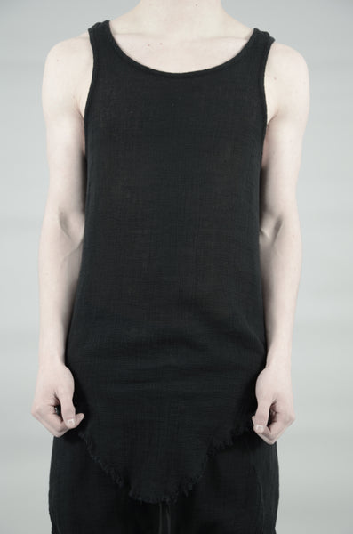 KNITTED LINEN SINGLET 32 BLACK