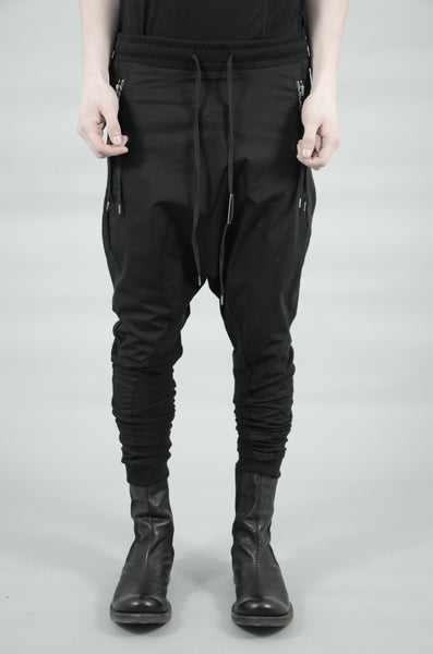 CONTRASTING WOVEN/JERSEY TROUSERS 73 BLACK