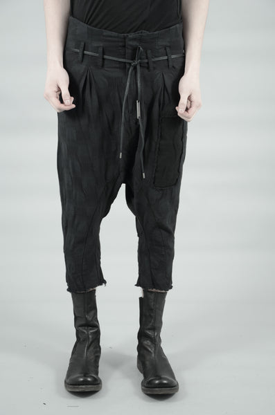 CROPPED CONTRA STRUCTURED LINEN TROUSERS 76 BLACK