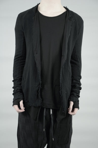 DOUBLE LAYERED KNITTED LINEN BLAZER 35 BLACK
