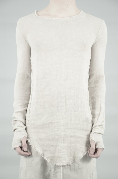 KNITTED LINEN LONG SLEEVE T-SHIRT 34 SAND