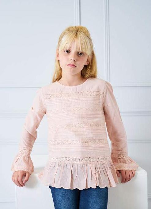 Tilly Cotton Lace & Pintuck Top blush pink