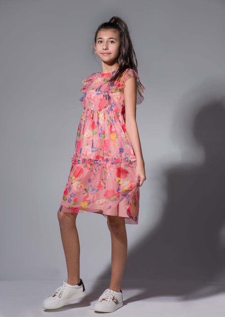 Lottie Floral Mesh Dress