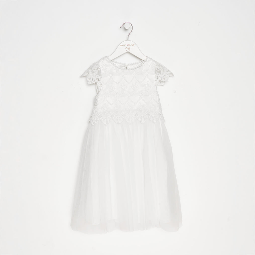 Lucy Lace Bodice Scallop Dress Ivory