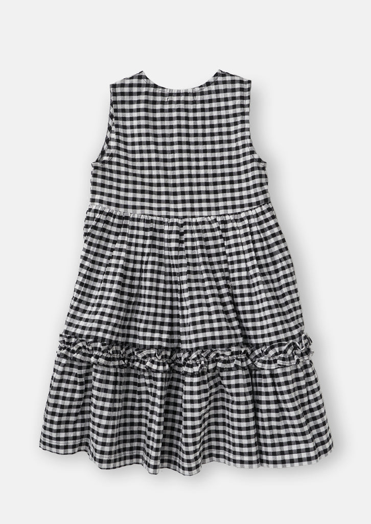 Gingham Tiered Black/White Dress