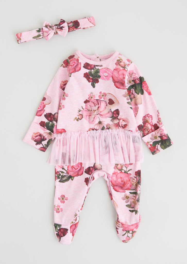 Amie Floral Aio With Tutu & Headband