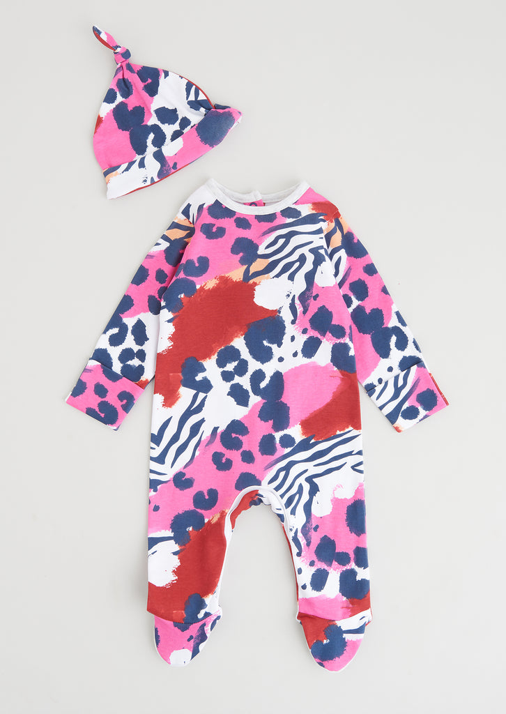 Amelia Zebra Print Aio Bo With Hat