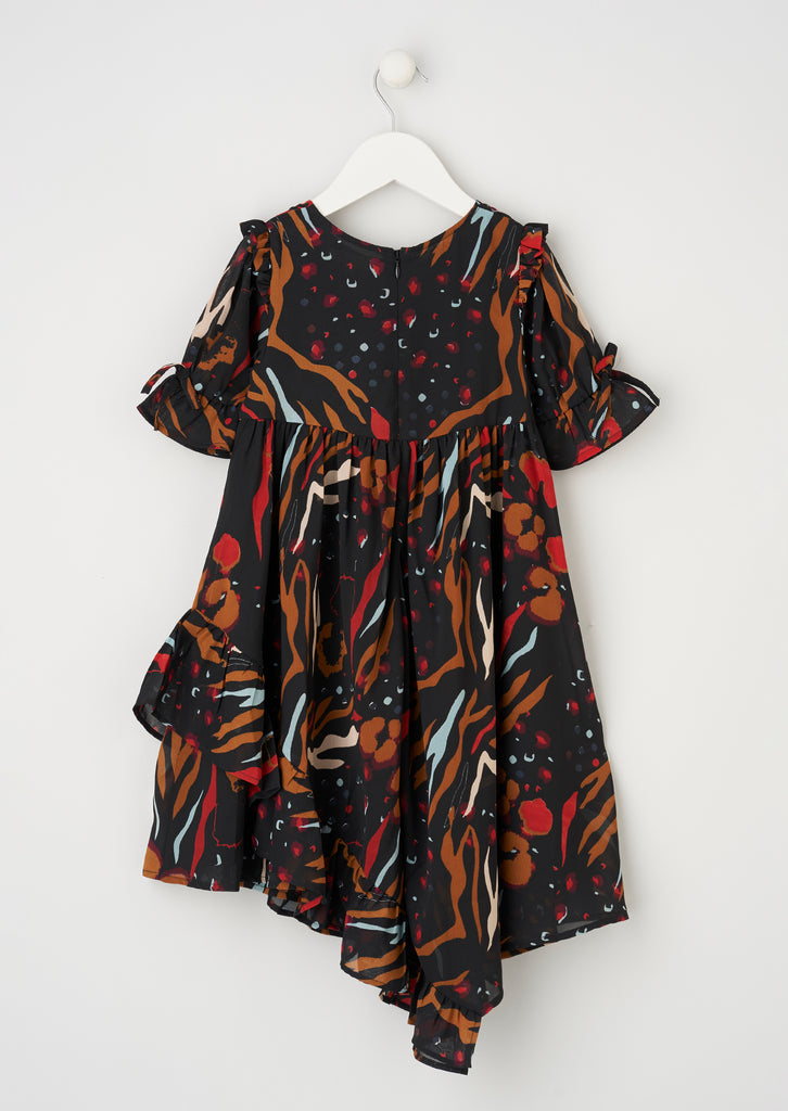 Willow Black Printed Frill Dress