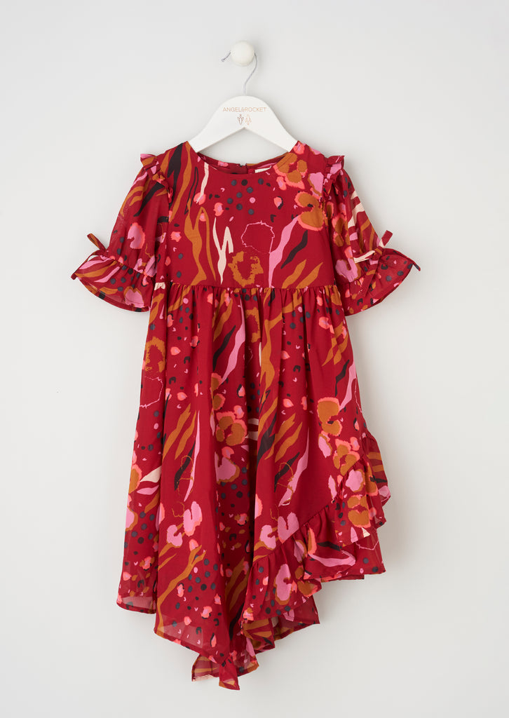 Willow Red Printed Frill Dress