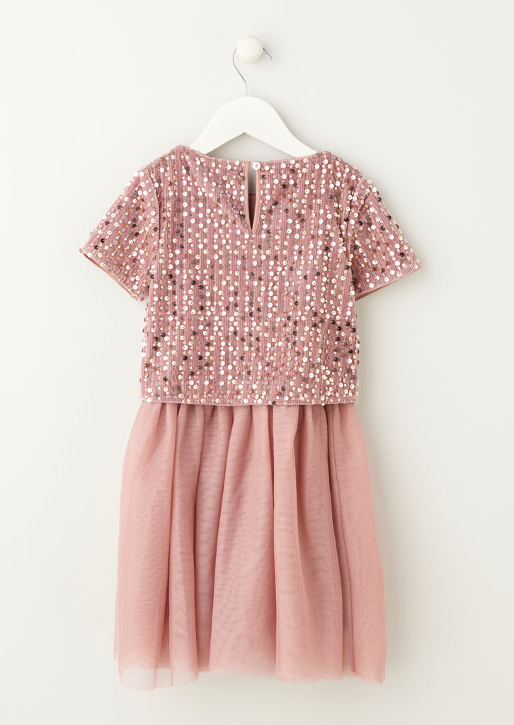 Isla Dusky Pink Sequin Top Tutu Dress