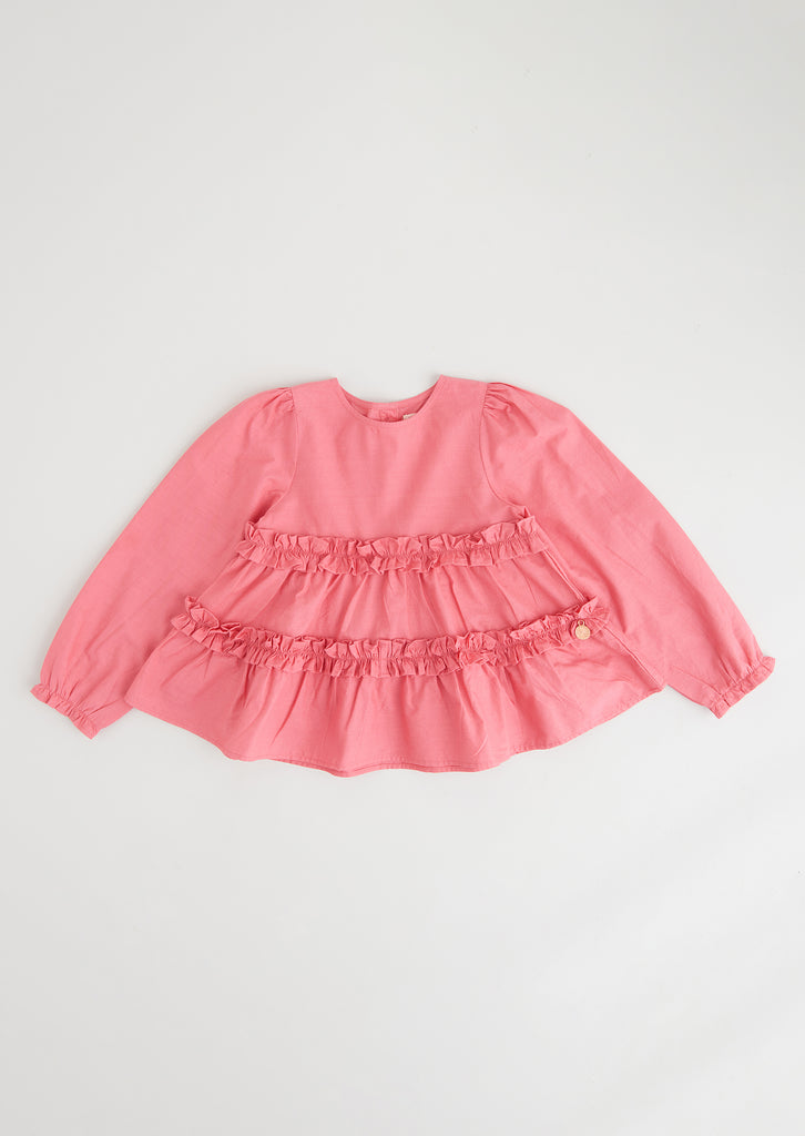 Maisie Coral Tiered Smock Top