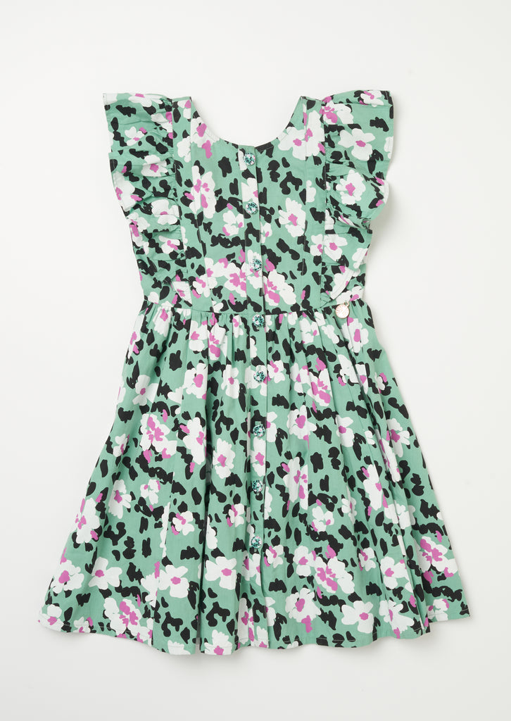 Ruffle Shoulder Cross Back Floral Animal Dress