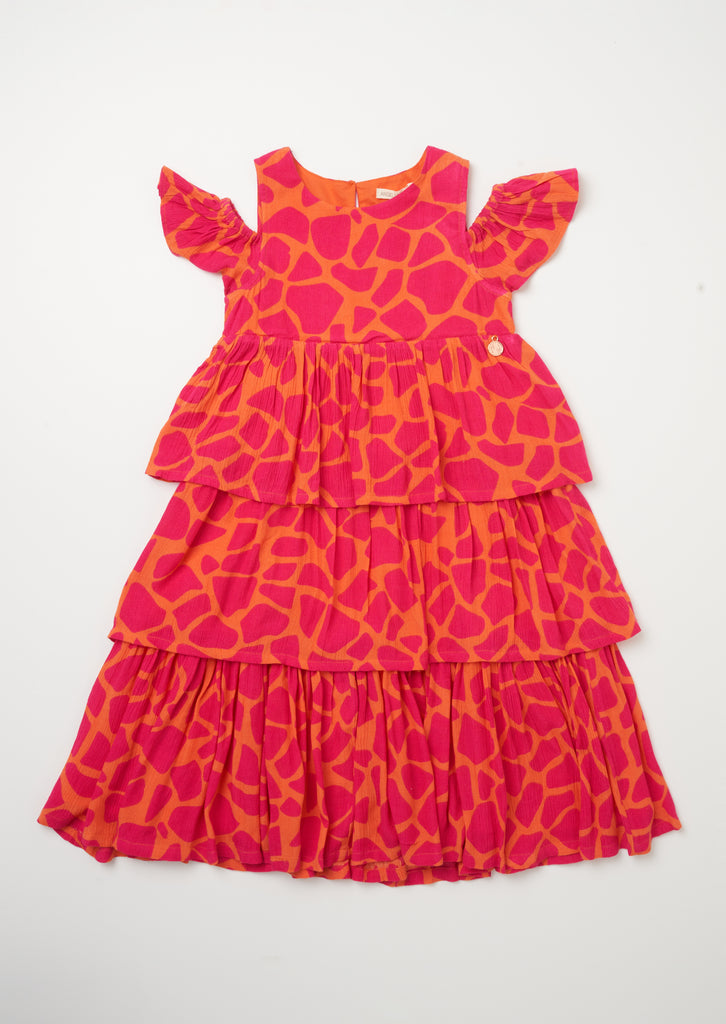 Crinkle Cotton Giraffe Midi Dress