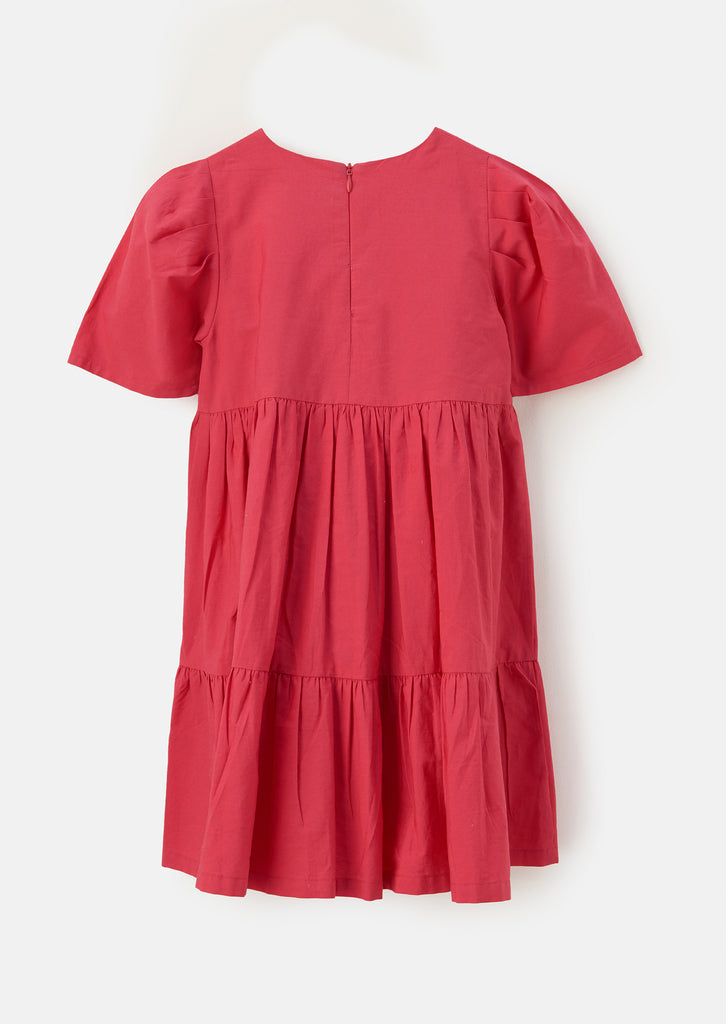 Theodora Poplin Emb Yolk Tiered Dress