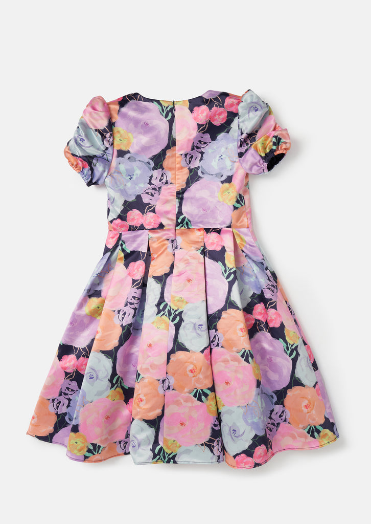 Watercolour Floral Puff Sleeve Dress