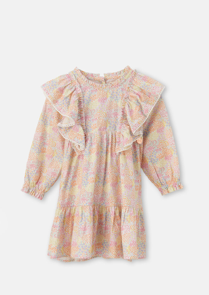 Lucille Rainbow Floral Frill Dress