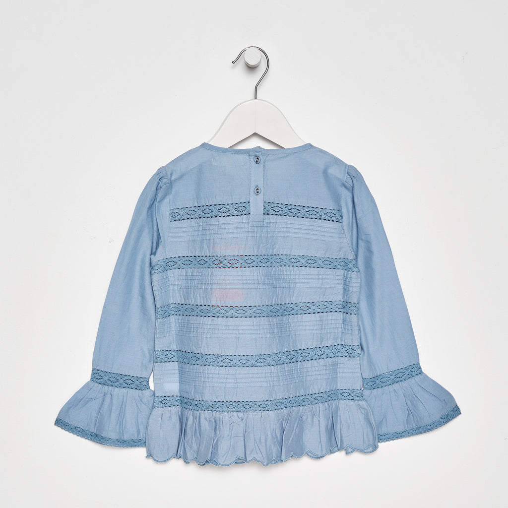 Tilly Cotton Lace & Pintuck Top chambray blue