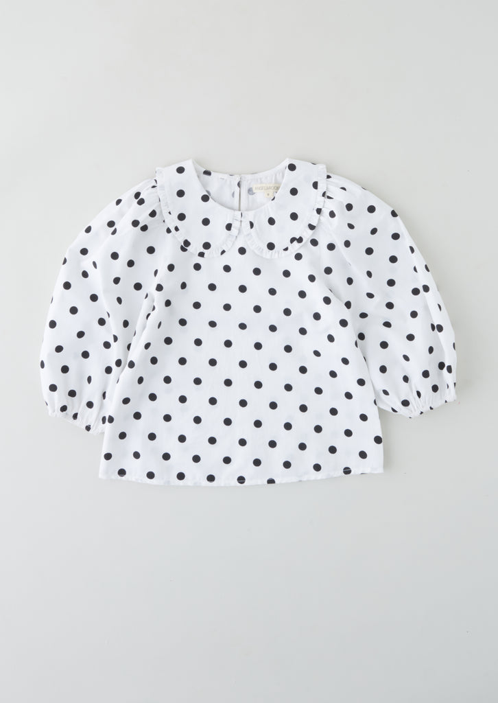 SPOTTED PUFF SLEEVE BLOUSE