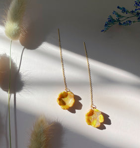 Flower Cup Threader Earrings in Citrine