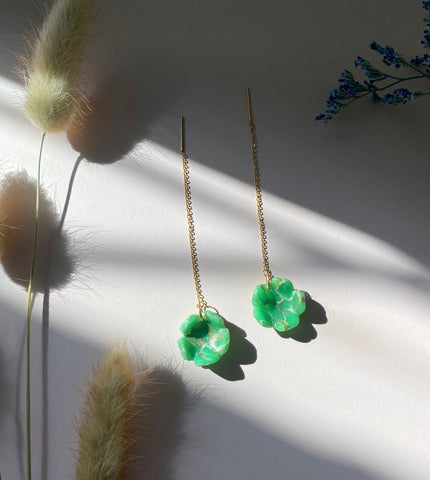 Flower Cup Threader Earrings in Jade