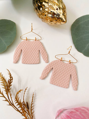 Cozy Sweater Earrings in pink