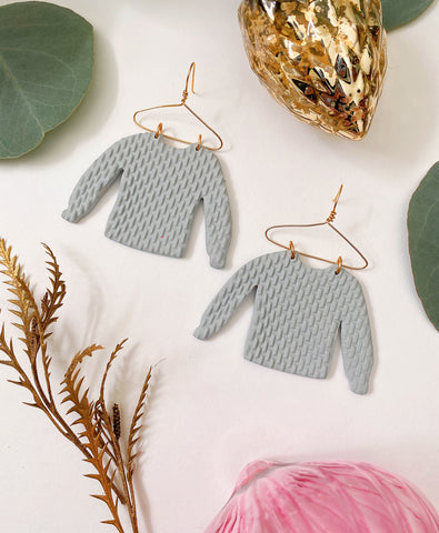 Cozy Sweater Earrings in gray