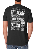 Small - Black Eat Well & Drink Better Beer T-Shirt