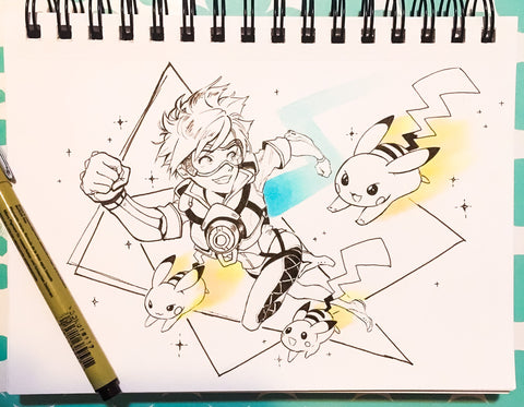 ORIGINAL PIECE: Tracer Ink Drawing [ OVERWATCH ]