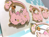 "Dangling Bell Kitty Enamel Pins (2"")"