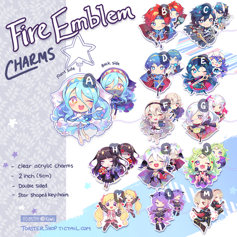 FIRE EMBLEM charms (2 inch Clear Acrylic)