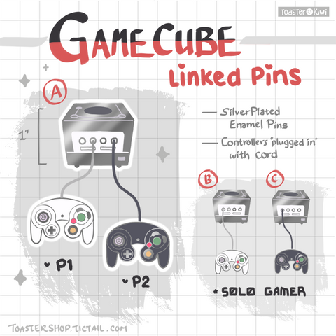 "Gamecube Linked Enamel Pins (1"")"