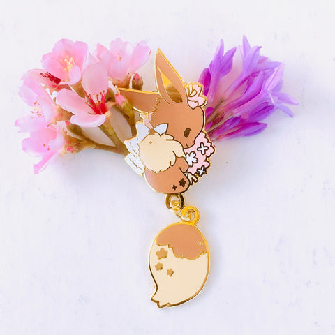 Eevee Dangling Tail Enamel Pin 3.5""
