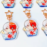 Two-Flavor Shaved Ice Todoroki Charms (2 inch Clear Acrylic)