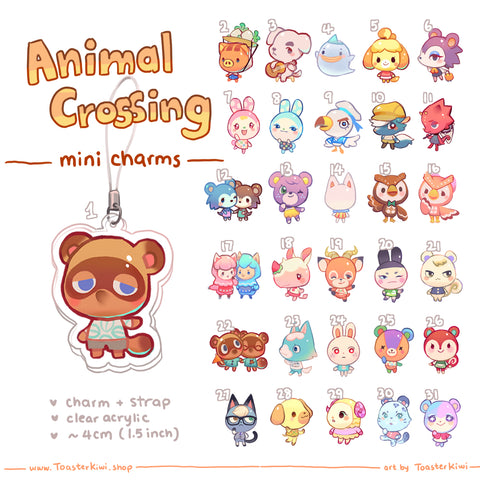 [PRE-ORDER] Animal Crossing Mini Charms (1.5 inch Clear Acrylic)