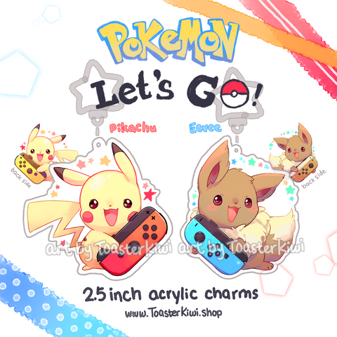 Pikachu Eevee Nintendo Switch Charms (2.5 inch Clear Acrylic)