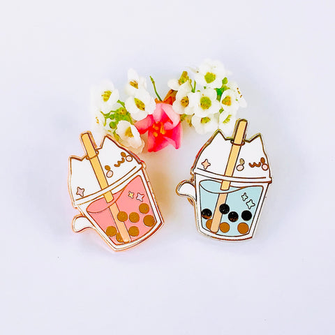 Bubble Tea Cat Enamel Pins 1""
