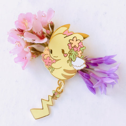 Pikachu Dangling Tail Enamel Pin 3.5""