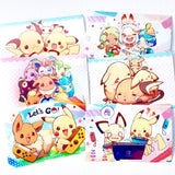 Pokemon Postcard Prints 6pc set (6x4inch)