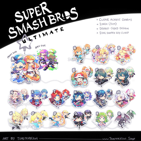SUPER SMASH BROS charms (2 inch Clear Acrylic)