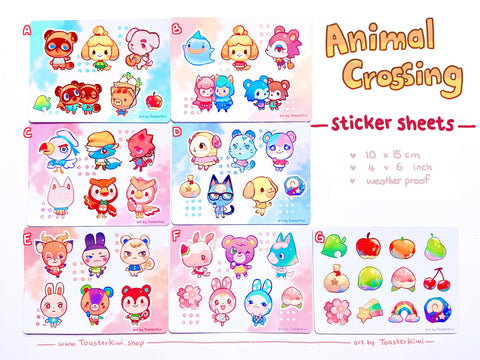 Animal Crossing Sticker Sheets (4x6 inch vinyl)