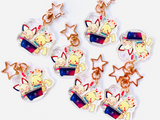 Pikachu and Pichu Playing Switch Charms (2inch Clear Acrylic)