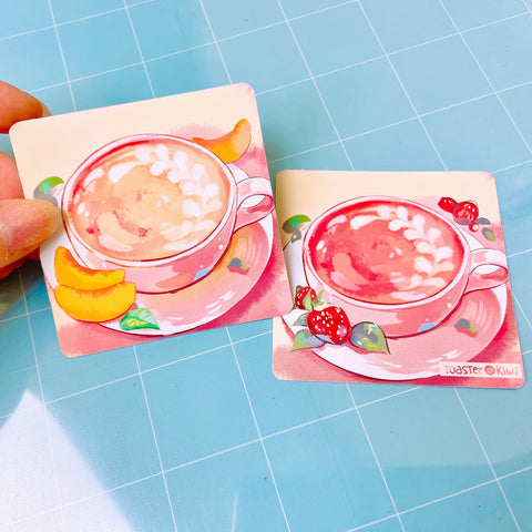 Peach & Strawberry Milk Tea Stickers 2pc Set